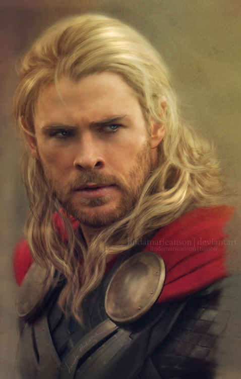 lindamarieanson:  thor II by *LindaMarieAnson I'm not perfectly satisfied with this because I managed to f*** up Thor's fabulous hair once again, mostly because I rushed it and did it in less than 3 hours (I was like wtf I'm done? already?), and I guess, I will do another Thor piece sometime in near future, but for now this is it.