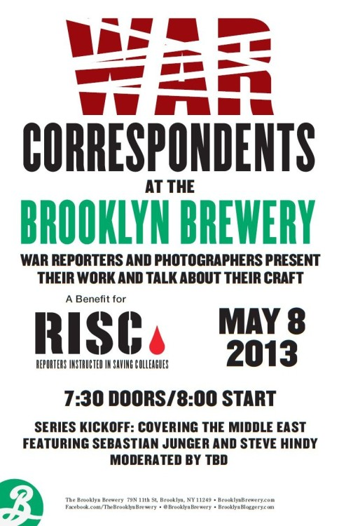 The War Correspondents series kicks off May 8th and continues monthly through December, featuring guests such as Bob Woodruff of ABC News, Jon Lee Anderson of The New Yorker, and freelance photographers Michael Kamber and Robert Nick.  Tickets here.