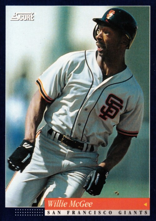Random Baseball Card #2265: Willie McGee, outfielder, San Francisco Giants, 1994, Score.