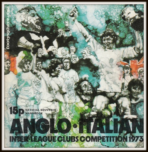 The Anglo-Italian Inter Leagues Clubs Competition more commonly known as the Anglo-Italian Cup started in 1970 and ran until 1973. It reappeared in various guises throughout the seventies, eighties and nineties.  The programme shown above is the 1973 official souvenir handbook and ranks as one of my all-time favourite cover designs. It's got a wonderful sense of movement and energy whilst conveying a unity of purpose between the English and Italian leagues as they come together in the spirit of friendly competition. The 1973 competition was won by Newcastle Utd who beat Fiorentina 2-1.