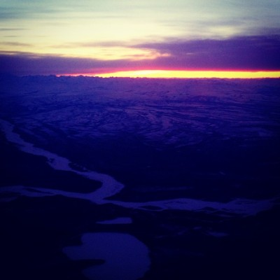 Pretty spectacular sunset on the descent into Fairbanks