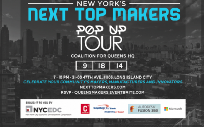 Via nycedc:  Tomorrow, we're kicking off the Next Top Makers popup tour with your favorite Queens makers at Coalition for Queens. Celebrate your community's makers, manufacturers, and innovators. RSVP here.