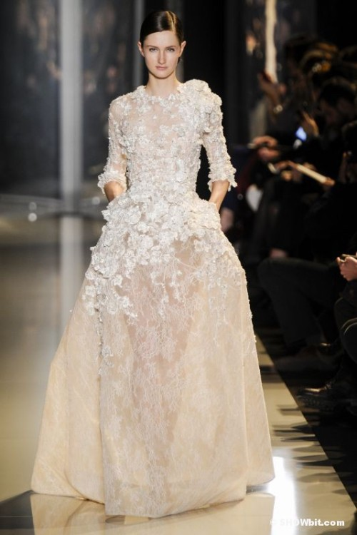 Mackenzie Drazan at Elie Saab Haute Couture SS/2013 embroidered ivory lace long dress.