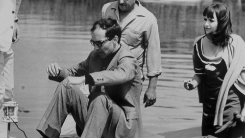 rykketid:  Jean-Luc Godard and Anna Karina on the set of Pierrot le Fou
