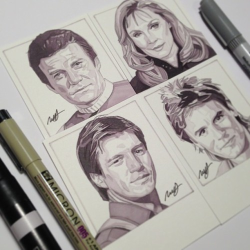 Drawing some familiar faces! To be signed by the actors at Dallas Comic-Con. See the making of Malcolm Reynolds on my vine @ Robert Hendrickson