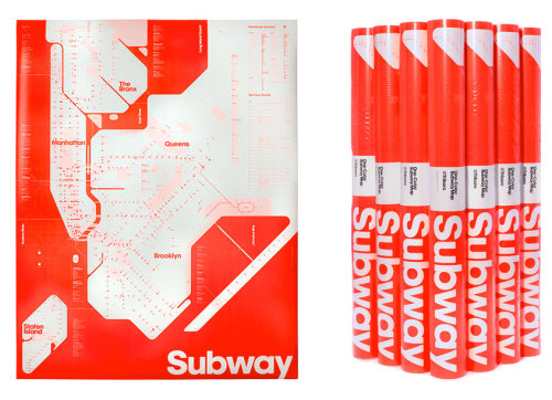Neon Red NYC Subway Map by Triboro Design