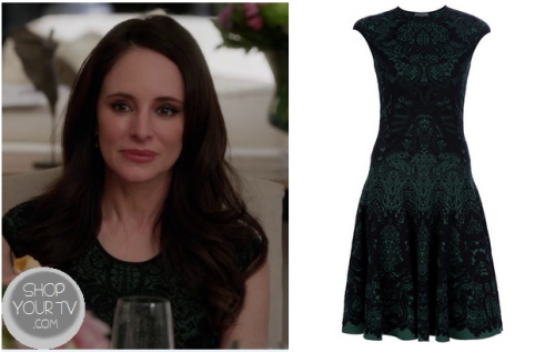 Victoria Grayson (Madeleine Stowe) wears this green and black baroque lace print dress in this week's episode of Revenge.It is the Alexander McQueen Knitted Skater Dress. Buy it HERE.