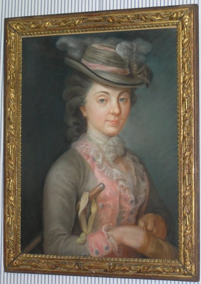 "Portrait of a Lady This lovely portrait is unsigned and and undated, but the pastel medium leads me to believe that it was created by a female artist, since pastel was an easier and typically feminine medium (and hence was more ""acceptable"" for women to practice); if it is by a woman, I'm not surprised that there's no artist's name. After all, in France's famous Académie alone,only four women were permitted to be academicians at once - not a very encouraging time to be a female artist! As for the date, I'm far less certain since riding habits - and this one is glorious - remained relatively unchanged over the decades. If I was better at hats, I could date it from that! Oh, more and more things to learn.."