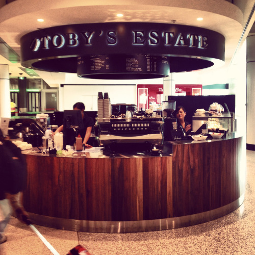 Toby's in the Sydney Airport. Kinda like Starbucks in AUS. Toby's in Brooklyn is so much better. Really strange.