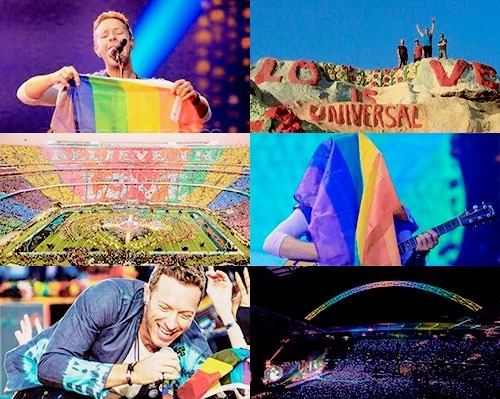 coldplay LGBT flag super bowl wembley chris martin guy berryman will champion jonny buckland love wins love is love the second one is just about love