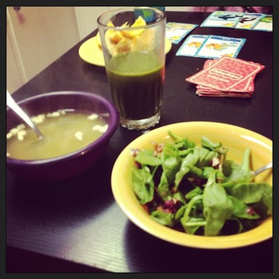 Miso soup, bacon and almonds salad with super food to drink!