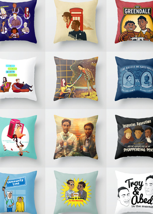 Special Pillows For Your Next Pillow-Blanket Fort Remedial Chaos Theoryby Blue Spacetime by Danny Haas Greendale Street by Powerpig Birthday Cake Birthday Cake by Blue Let's Go by Znuese Pillows Vs. Blankets by Grady Blorgons! by Blue In The Morning by Alice X. Zang Inspector Spacetime and the curious case of the disappearing pen by Leigh Lahav Community Time! by Powerpig Troy and Abed in the Morning by Danielle Mahaffeey Troy and Abed in the Morning by Stewart Chown