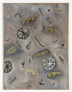 theories-of:  Charlie Hammond EXPLODED VEHICLE (YELLOW SPECTACLES), 2010, ceramics, oil canvas, 125 x 94 x 7 cm