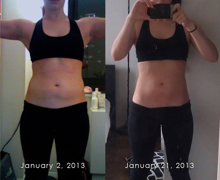 leapsnpounds:  Alright, I wasn't going to post a photo until February 2 (for a one-month progress sort of thing) but something strange happened yesterday. I grabbed a pair of jeans that I hadn't fit into since I moved to NYC and I was not only able to get them up over my butt, but also zipper them closed. It wasn't a stellar fit, but definitely an improvement over 3 months ago when I couldn't even get both legs in. Anyway, as I was getting ready for my run this morning, I snapped a quick pic and couldn't believe it when I put it up next to the original one that I shot on January 2. No idea what my weight is in either pic, but I don't really care. This is 20 days of relatively clean eating (it's improved since I got back from Europe) and moderate exercise. Not my A-game, but not nothing.