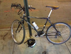 So, yeah, my comically old bike: 1990ish-2013. Got it when I was 12 or so, and dug it out of mothballs in 2007, after which I used it almost every day. I can't even guess how many (thousands of?) miles I got out of it, but I used to bike to work with it, 8+ miles each way, back in Philly. It went on the Schuylkill river trail on numerous occasions, sometimes 25 miles each way to questionable suburban eateries. It was with me on drunk rides, like that one time, when I was slightly more foolish than I am now, when I rode it from Kensington to Roosevelt Blvd in the middle of the night without realizing I was going entirely the wrong way. I never much cared that it didn't fit me, nor that I looked vaguely unappealing riding it. Trying not to guesstimate how much money I put into it in repairs, but by the end the only thing that hadn't been replaced was the frame itself, which I just assumed would live into eternity. It didn't. A nice crack finally formed at the rear tire hub, making it, after all these years, unsafe to ride. Sorry that a cartoonishly snooty bike shop repair dude had to do the final diagnosis — but then I have the amusingly awkward voicemail from said snooty bike shop repair guy, who obviously had no clue how to break the news to a stranger that his bike was totally dead. Anyway, end of an era, it's been a blast and you've been replaced with a bike not originally intended for a growing boy. May it, too, last longer than some pets. (Yes, I eulogized a non-living object made of gears and grease.)