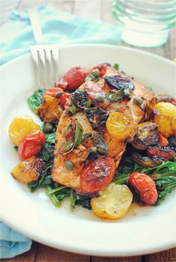 foodopia:  pan-seared salmon with greens and roasted tomatoes: recipe here