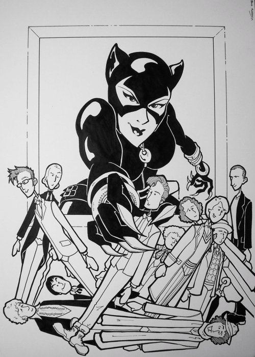 bevismusson:  Catwoman And The Doctors by *BevisMusson Forgot this one with my Doctor Who repost yesterday. All the Doctors, plus added bonus Catwoman. One of the most fun commissions I've ever done.