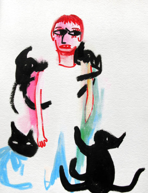 drawingsofgirlson:  Girl with cats. Lots of cats.
