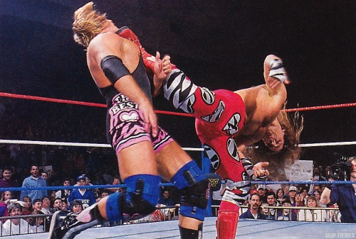 "Shawn Michaels Delivers a Sweet Chin Music to Owen Hart - WWF In Your House 6 : Rage in the Cage [2/18/1996] The absolute crown jewel in a PPV that had not a whole lot going for it (save for the Razor Ramon/123-Kid ""Crybaby"" match), Owen vs HBK went for a full sixteen minutes in a #1 Contender match for the WWF Championship at WrestleMania. This moment here captures Shawn Michaels right before winning the match completely, getting sweet revenge on Owen Hart for putting him out of action months prior with an enzugiri that almost (kayfabe) forced Michaels to retire."