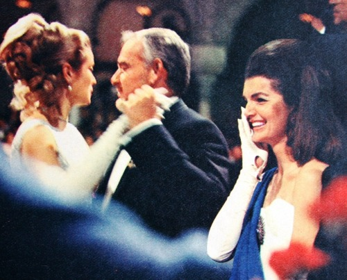 simplymagdorable:   Margriet (Dutch) July 1966   Jacqueline Kennedy, Princess Grace and Prince Rainier at Spain's Debutante Ball at the Palace De Pilatos in Seville (Spain) in April 1966