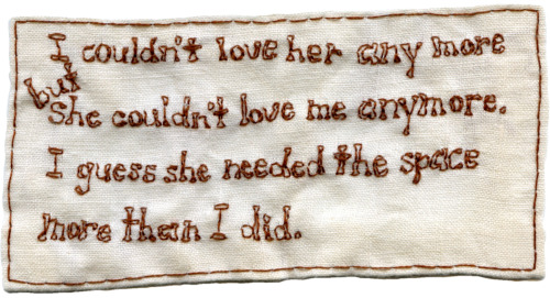 """Spelling Lesson."" Poem by Kevin Kinsella. Embroidery on fabric. 2013."