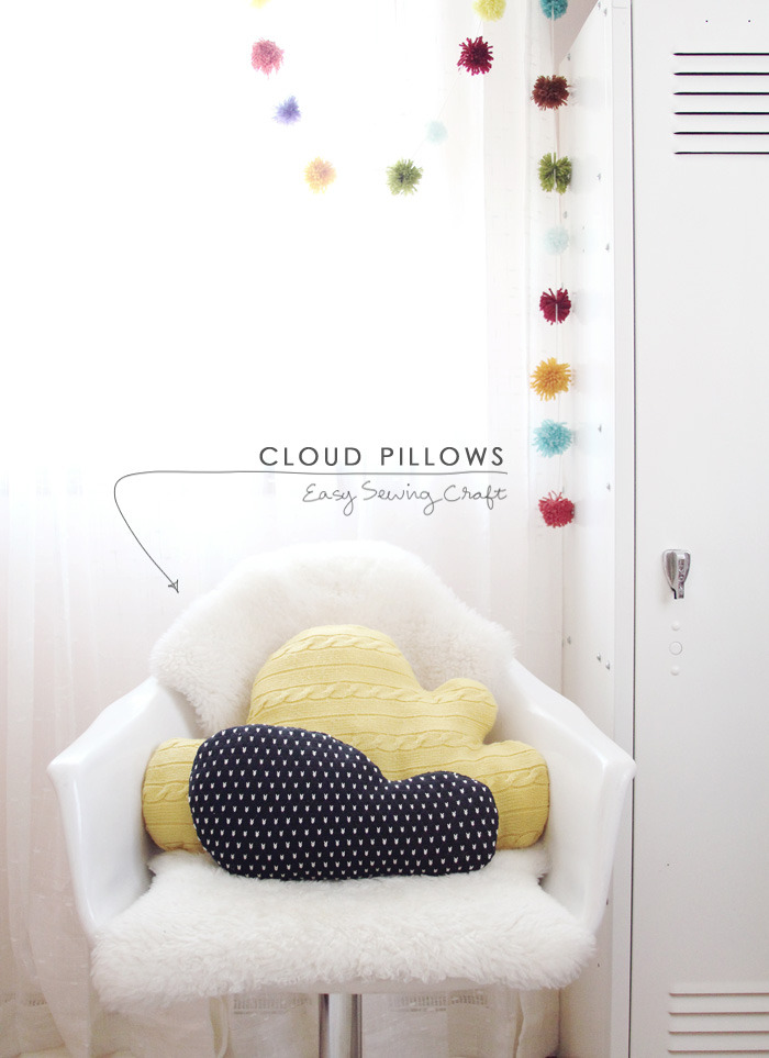 Cloud Pillows | Making Nice In The Midwest If you have a jumper you love that has seen better days, why not make it into a super cute and soft pillow!? These pillows would be so cute in a kids room. If you don't have a jumper to cut up, have a search through your local op shop - look for ones with a great pattern or texture.