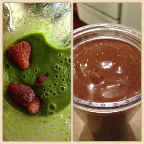 It's amazing what a few berries can do to make a smoothie look more appetizing. :)