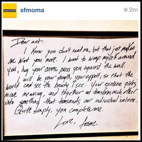 sfmoma:  artistmanifesto:  LOVE LOVE LOVE THIS! I had to repost @sfmoma HAPPY VALENTINES DAY YA'LL  Thanks to Mel Arnold for submitting this to our Love Letter to Art Project!