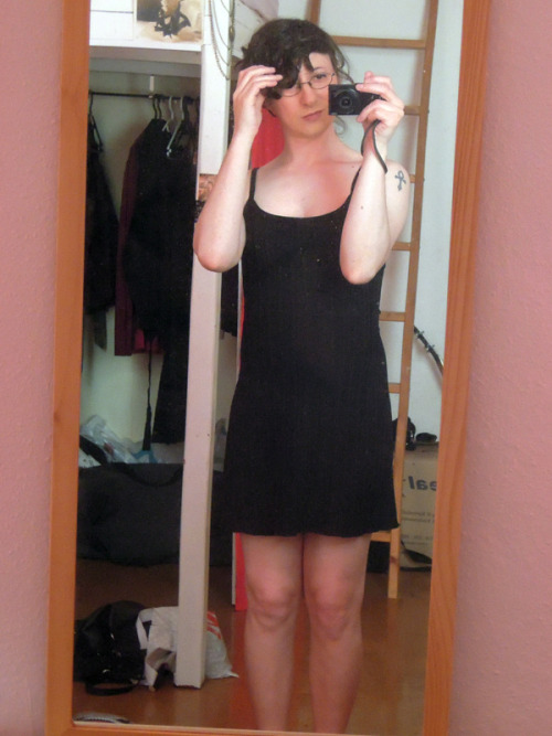 "One of my two summer dresses :) Like so many trans women, before HRT I was complimented constantly on my legs, to the point that it ended up becoming frankly annoying to hear/read ""OMG YOU HAVE AMAZING LEGS HURR DURR"" from every-single-person that I met or visited my blog. I, however, thought they were too skinny, and I never left the house without wearing opaque tights because I was embarrassed by my bony knees and muscular calves. But that's no longer the case, now my thighs rub against each other when I walk, and I feel better than ever! I could still do with a smaller waist and wider hips, because despite all the awesome changes, I still feel my shape is a bit too ""straight"", but I'm confident that the hormones will keep working their magic. After all, 8 months is nothing :) Oh, and I know, I know, lately all my selfies are taken in the same room, in front of the same mirror. I'll try to do something different next time ;)"