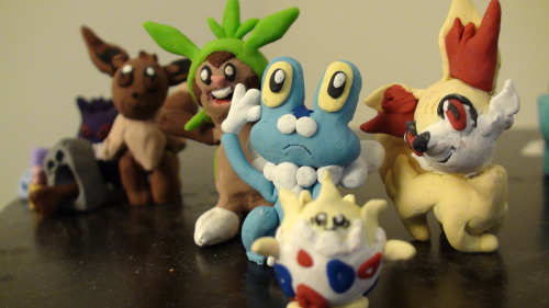 Tada guys, The starters for the new Pokemon X and Y games! Chespin, Froakie and Fenniken. I kind of hate what happened with Fennekin because the way she's drawn makes it seem like her neck is super thin and has a huge head in proportion to its body thats partially why her legs are all messed up. But I'm fairly happy with Froakie. In the last picture you can slso see Togepi and Eevee photobombing, as well as Gengar with his weird manipulations that I got bored and made some day.