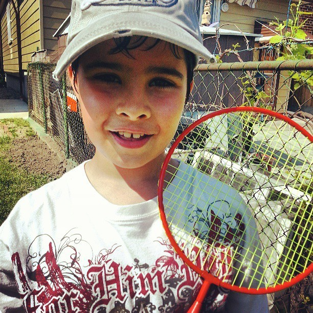 my cutie playing badminton!  #brother #family #summertime #heat #love #cute #sports