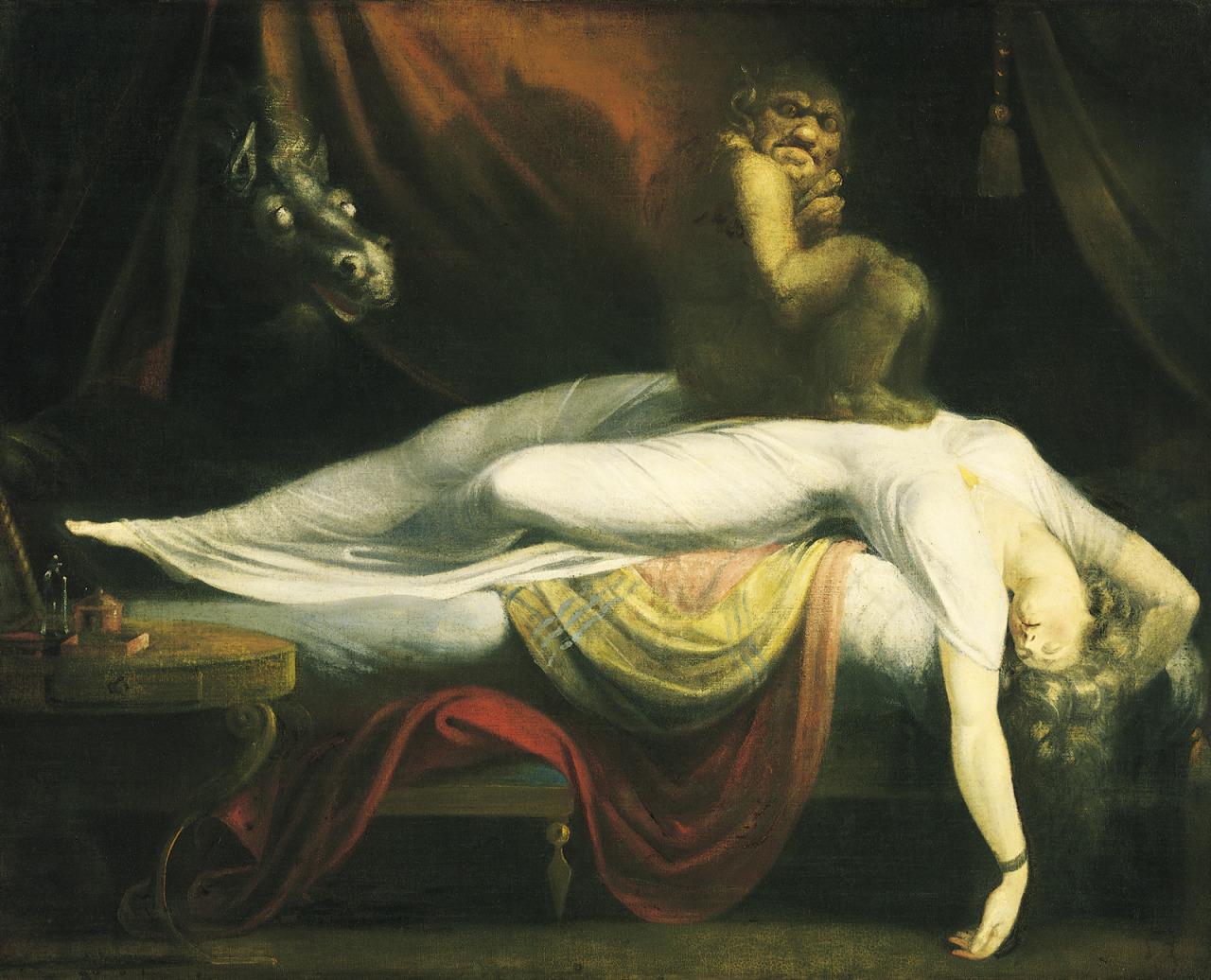Johann Henry Fuseli's The Nightmare  When I was 5, i think I was 5, we had this book. It was about all the scary things a 5 year old would be afraid of; hobgoblins, spirits, monsters, ghouls, etc. I remember it had a purple and black wave pattern on the cover and it had this distinct smell. I can remember the smell, I couldn't tell you what it is, but if I ever encountered that smell again that book will come to mind.   The book had etchings in it. I remember the one story about the incubus (not really a story for a 5 year old, but when you're 5 all the stuff you know as an adult you don't know about nor care), and the etching they had for the story was the one up above, The Nightmare by John Henry Fuseli. That image has stuck with me since then. I don't particularly know what exactly about it was so intriguing to a 5 year old me but it was embedded forever. I do believe it greatly influenced my affinity for baroque era and lighting as well as nightmarish, dark nuance in most of my editorial work. I can safely say this image represents the beginning of something I would only later understand.   ( I also have to credit the Caravaggio that was always in our dining room since I could remember)