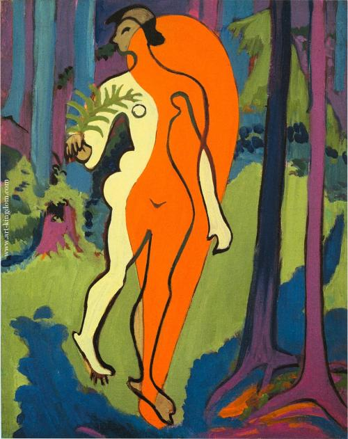 2headedsnake:  Ernest Kirchner 'Nude in Orange and Yellow', 1930