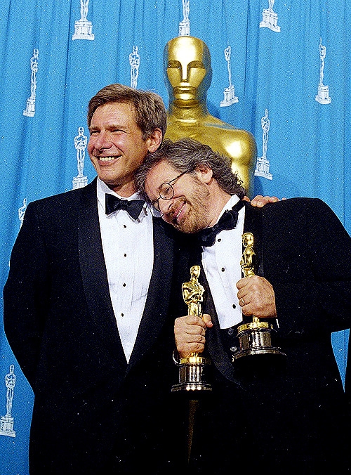 "1994: Harrison Ford and Steven Spielberg at the 66th Academy Awards. Spielberg took home 2 Oscars in the categories of Best Director and Best Picture for ""Schindler's List""."