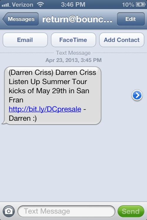 I love that it feels like Im actually getting a text from Darren :)
