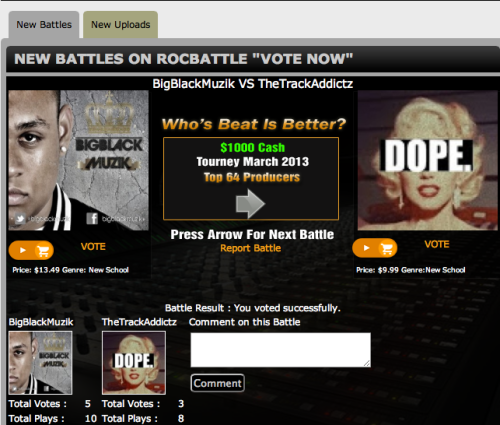 Go to RocBattle.com and check out the NEW BATTLES. Click on the gray arrow until you see this BeatBattle and vote for BigBlackMuzik. - BigBlackMuzik #bigblack #producer #netherlands #music #bangers #beatbattle #rocbattle #newschool #winner #kush #weed #awesome