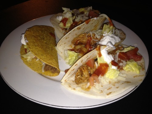 Chicken fajitas and beef taco! Yum!