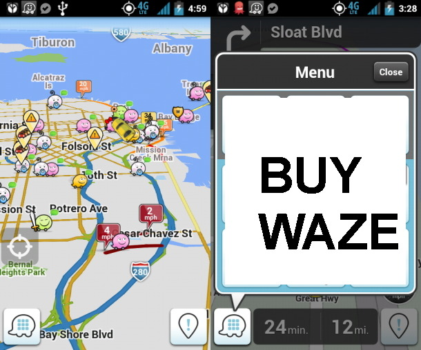 Is Apple Plotting A Route To A Waze Acquisition? Rumours On The Road Point To Yes Mike Butcher, techcrunch.com There can be no doubt that one of the hottest star­tups of the last cou­ple of years has been social sat-nav smart­phone app Waze. Not sur­pris­ing in an era when – large­ly due to Apple ini­tial­ly dump­ing Google Maps in iOS 6 – every­one woke u…  Waze (from Israel) could be Apple's one shot at restoring their (often mocked at) Maps application, although Apple will have to pay out a fortune to buyout the company.  Update (1/3/13): It appears Apple was never interested in buying Waze.