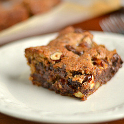 Hazelnut, Chocolate Chip Date Cookie Bars