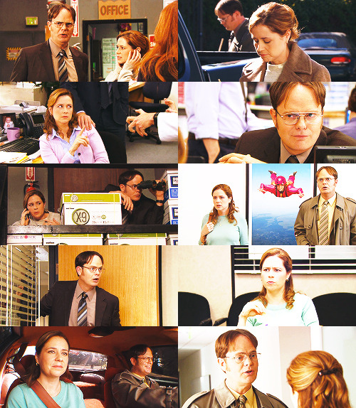 "theofficesupplies:   Dunder Mifflin Friendships: Dwight and Pam (Season 9)""Office Administrator, Pamela Beesly Halpert, is my best friend."""