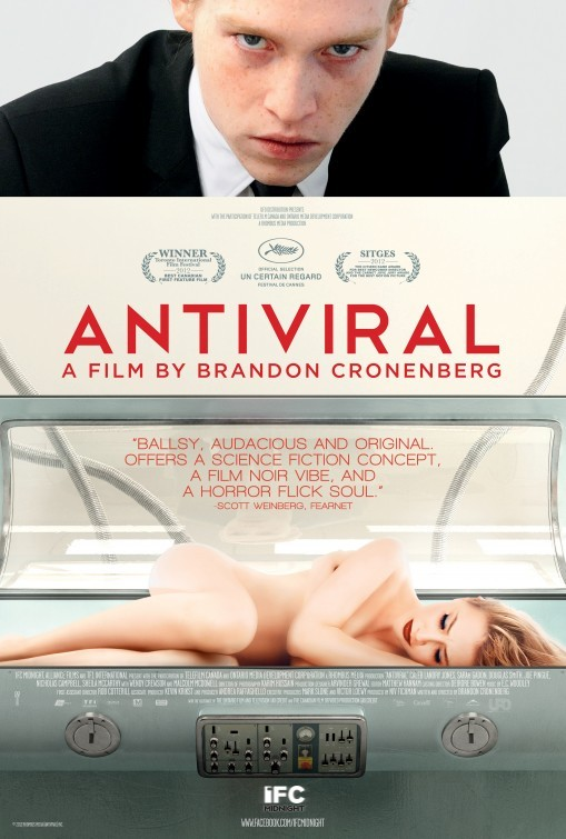 REVIEW: ANTIVIRAL The apple doesn't fall far from the tree in Antiviral, the feature debut of Brandon Cronenberg, son of David. As should be expected from anyone with the surname of the King of Venereal Horror, the film is icky and strange, daringly sick and emotionally icy. At the front is an intriguingly out-there germ of an idea for a vicious satire about celebrity mania, but considering this film's conception came from a short by the writer-director himself, it's just an idea in search of a story. READ THE FULL REVIEW BY CLICKING HERE
