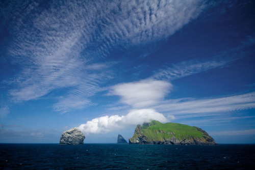 Clouds trailing off Boreray, St. Kilda, Scotland by JC Richardson on Flickr.