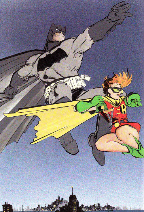 "jthenr-comics-vault:  Batman & Robin (Carrie Kelley)From The Dark Knight Returns #3 (1986)""Hunt The Dark Knight""By Frank Miller"