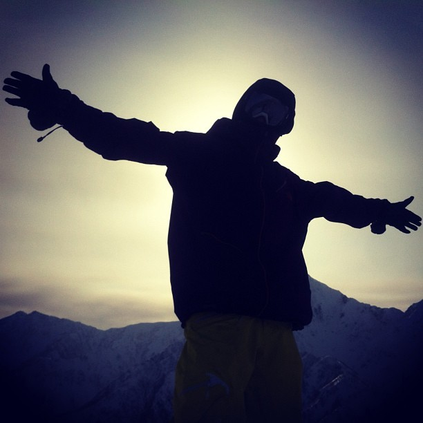 Nate feeling free as a bird atop a climb in the Japanese Alps. (at Hakuba, Japan)
