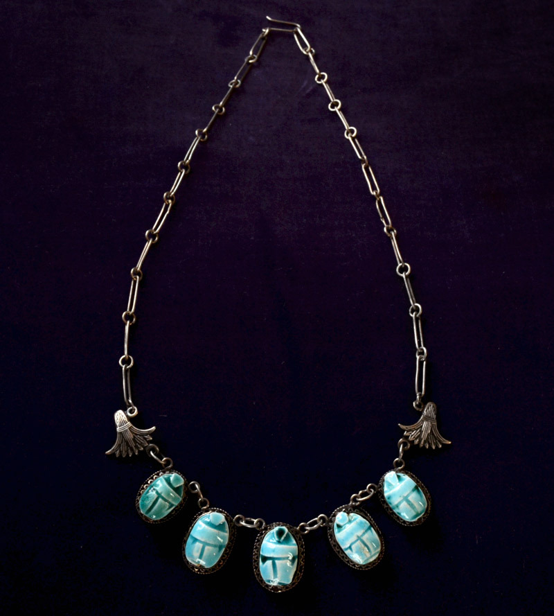 1920s Faience Scarab Necklace, Sterling Silver, $275