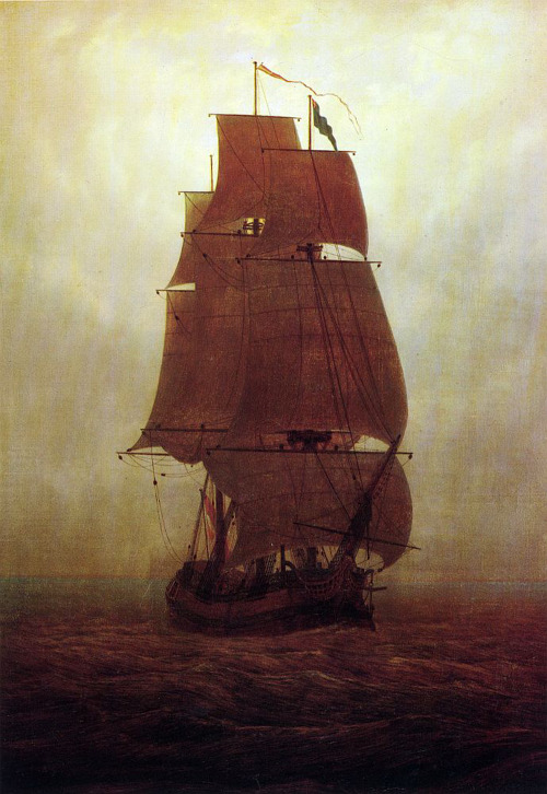 snowce:  Caspar David Friedrich, Sailing Ship in the Fog, 1815