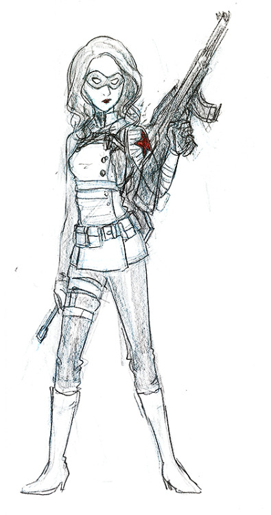 "Female!Winter Soldier/Bucky ""design"" because I wanted someone to cosplay for a future con. And I'm not a muscley/handsome man.WE'LL SEE HOW THIS GOES.takes a break from cute kitties for a little bit ohnoo"