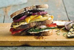 fit-to-row:  Grilled Cheese Vegetable Goat Cheese Sandwich