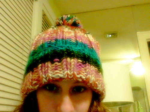 Wearing this super cozy rainbow knit hat in the house.  Also, came back from yoga which was nice and needed because my legs and hip flexors are getting really tight.