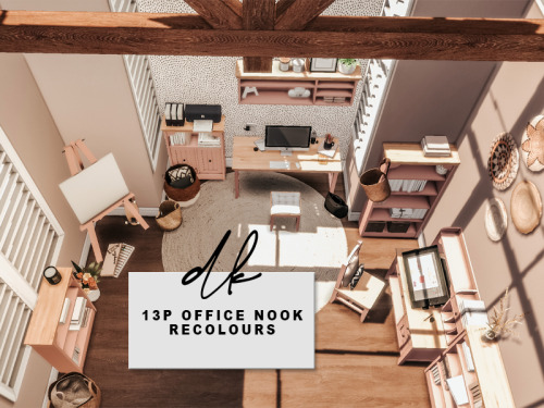 dk-sims:  13p's Office Nook RecoloursD O W N L O A D | PATREON (FREE)- 13 objects- 5-15 swatches per item- BGC - The beautiful meshes by @13pumpkin31 are not included and are required! Get them here [X]TOU: - Check original mesh creator for their TOU. - Re-uploading my recolours is not permitted. - Including them in lots and converting to TS3 is permitted, but NOT behind a paywall of any kind. - Please pay credit where credit is due.If you use, please tag me - I'd love to see it!XOT S R | T U M B L R | I N S T A G R A M | P A T R E O N